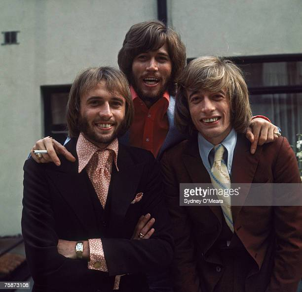 Maurice Barry and Robin Gibb of the British pop group the Bee Gees circa 1973