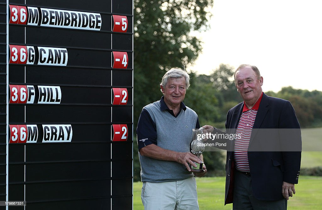 Maurice Bembridge (left) and Michael Curley pose with the trophy after winning the PGA Super 60's Tournament at Thorpeness Hotel and Golf Club on August 30, 2013 in Thorpeness, England.