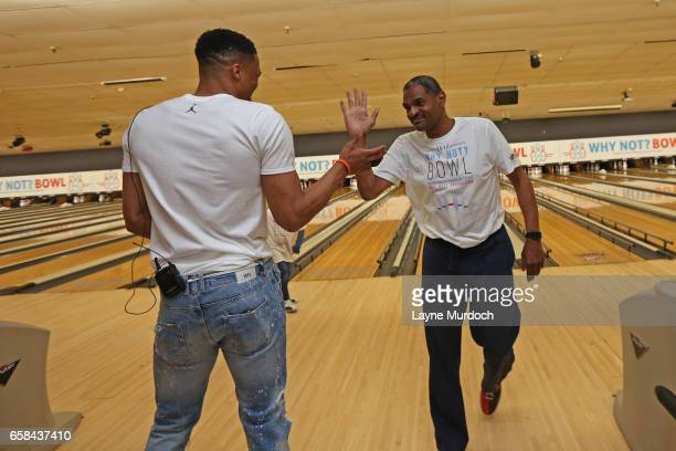 Maurice Cheeks of the Oklahoma City Thunder bowls during Russell Westbrook's 7th annual Why Not Foundation bowling event on March 24 2017 at the AMF...