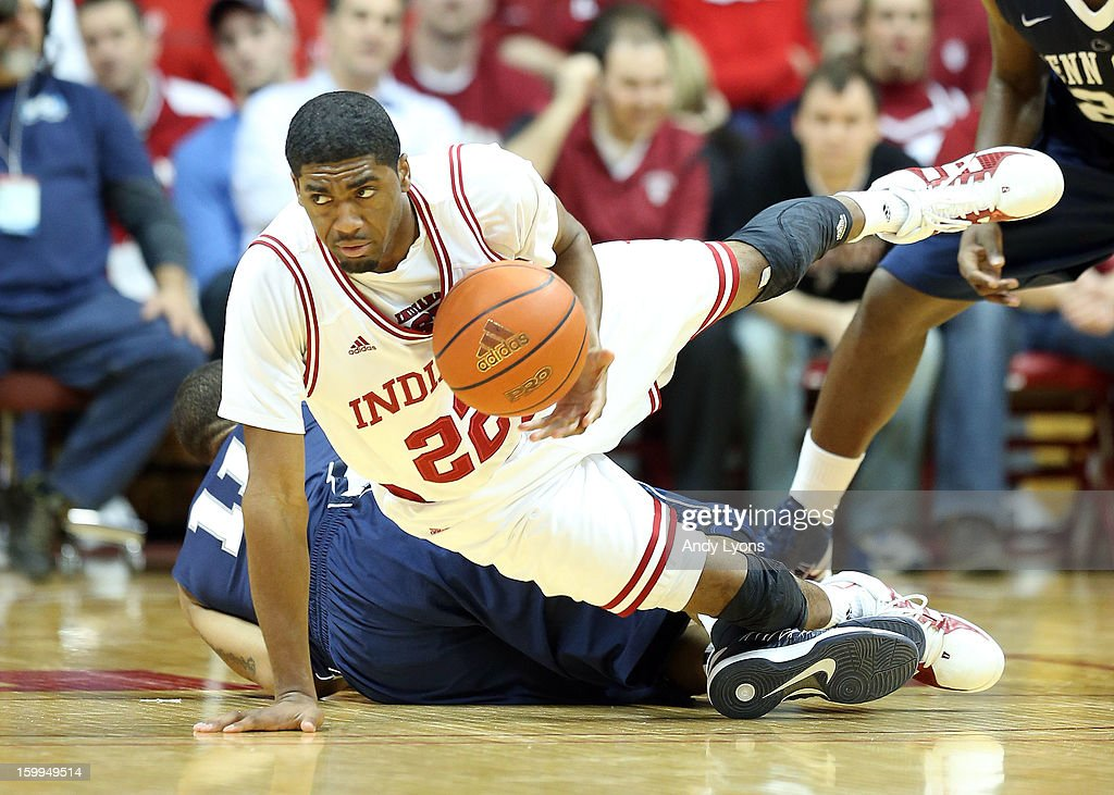 Maurice Creek #22 of the Indiana Hoosiers dives for a loose ball during the game against the Penn State Nittany Lions at Assembly Hall on January 23, 2013 in Bloomington, Indiana.