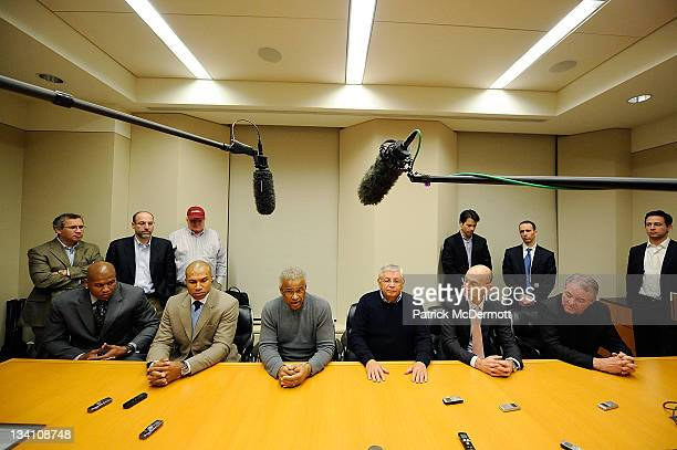 Maurice Evans Derek Fisher Billy Hunter NBA Commissioner David Stern NBA Deputy Commissioner Adam Silver and Peter Holt speak to members of the press...