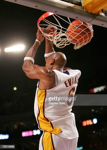 Maurice Evans of the Los Angeles Lakers makes a reverse slam dunk against the Memphis Grizzlies on November 12 2006 at Staples Center in Los Angeles...