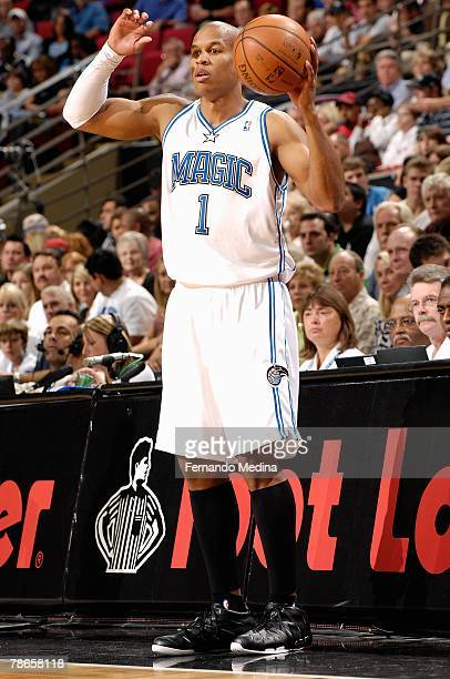 Maurice Evans of the Orlando Magic looks for an inbound pass during the game against the Miami Heat on November 24 2007 at Amway Arena in Orlando...