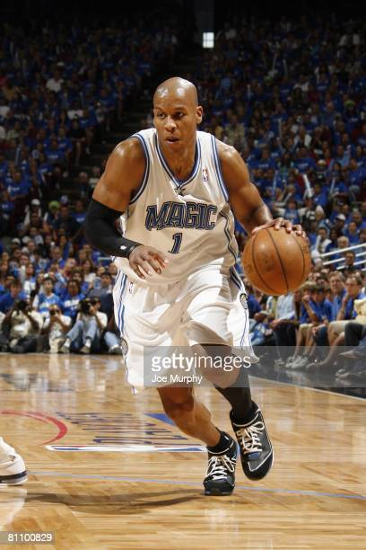 Maurice Evans of the Orlando Magic moves the ball up court in Game Four of the Eastern Conference Semifinals against the Detroit Pistons during the...