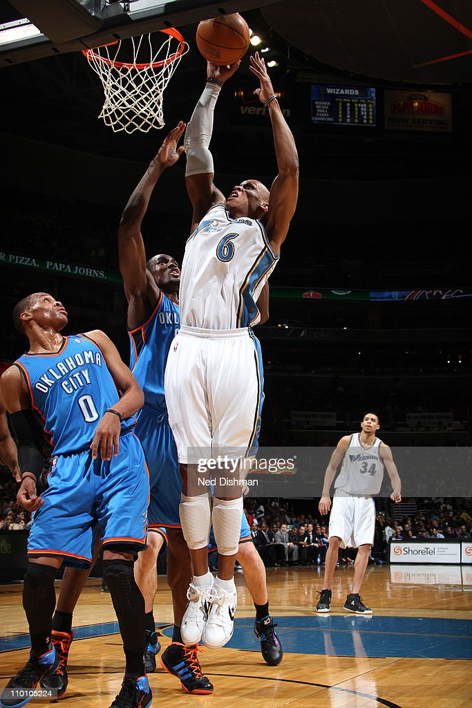 <a gi-track='captionPersonalityLinkClicked' href=/galleries/search?phrase=Maurice+Evans&family=editorial&specificpeople=201677 ng-click='$event.stopPropagation()'>Maurice Evans</a> #6 of the Washington Wizards shoots against the Oklahoma City Thunder at the Verizon Center on March 14, 2011 in Washington, DC.
