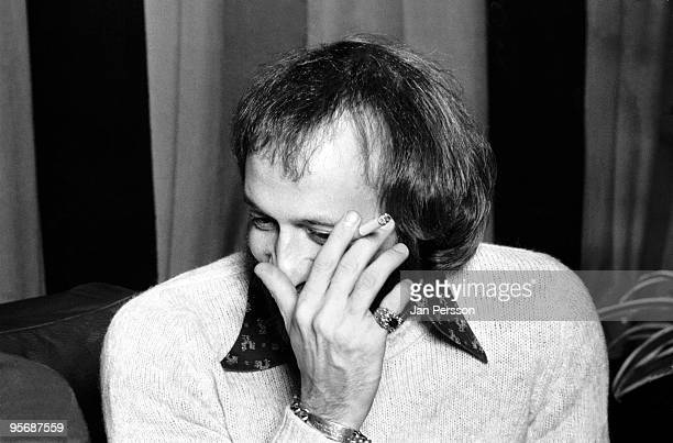 Maurice Gibb from The Bee Gees posed at a Press Conference in Copenhagen Denmark in 1975