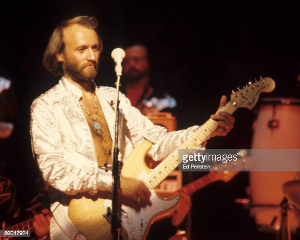 Maurice Gibb of the Bee Gees performs at the Oakland Coliseum on July 11 1979 in Oakland California
