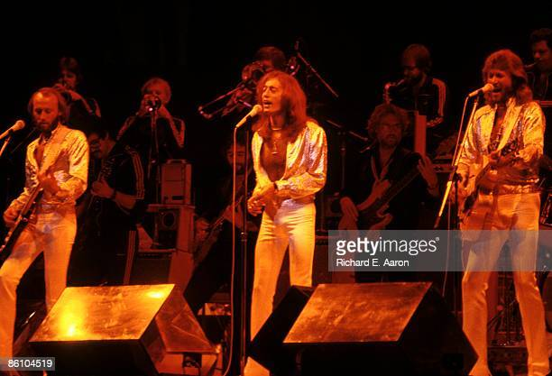 Maurice Gibb Robin Gibb and Barry Gibb of The Bee Gees performing on stage at Madison Square Garden on the Spirits Having Flown Tour on September 7th...