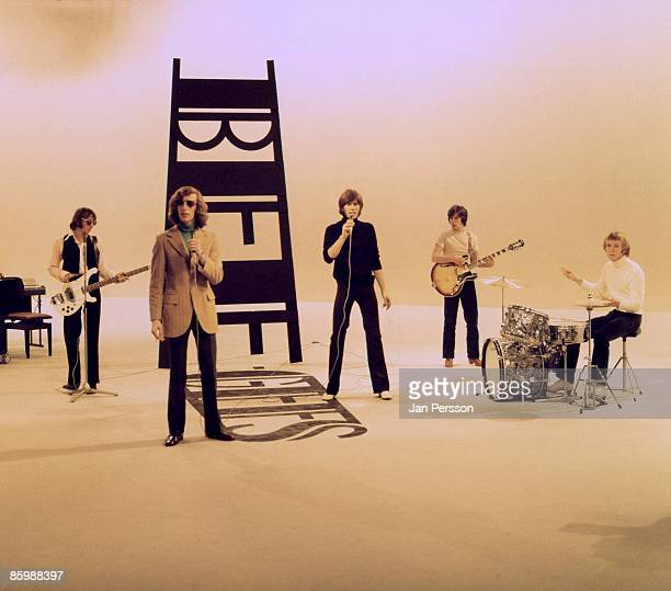 Maurice Gibb Robin Gibb Barry Gibb Vince Melouney and drummer Colin Petersen of The Bee Gees perform on a TV show in Copenhagen Denmark in 1968