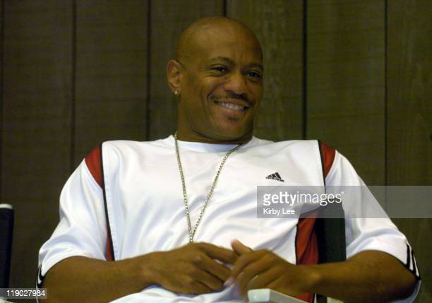 Maurice Greene at Prefontaine Classic track meet press conference at the Valley River Inn on Friday June 18 2004