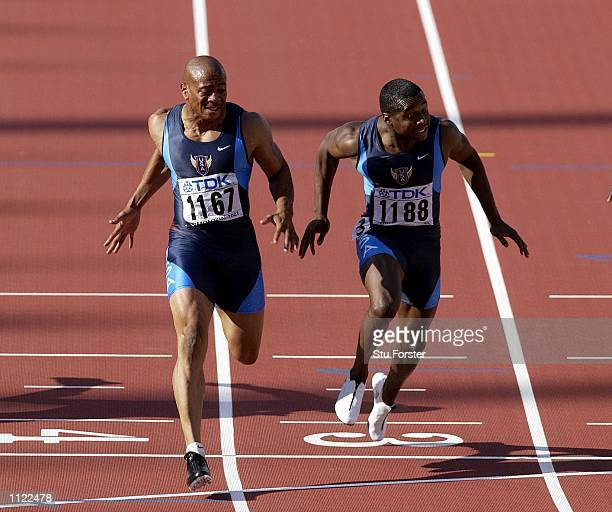 Maurice Greene wins the mens 100m gold beating Tim Montgomery of the USA into second place during the third day of the 8th IAAF World Athletic...