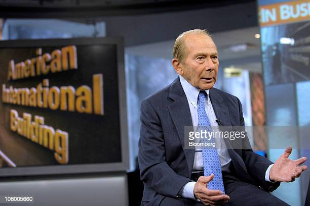 Maurice 'Hank' Greenberg chief executive officer of CV Starr Co Inc and former chief executive officer of American International Group Inc speaks...