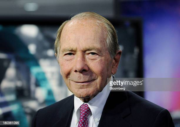 Maurice 'Hank' Greenberg former chairman and chief executive officer of American International Group Inc stands for a photograph before a Bloomberg...