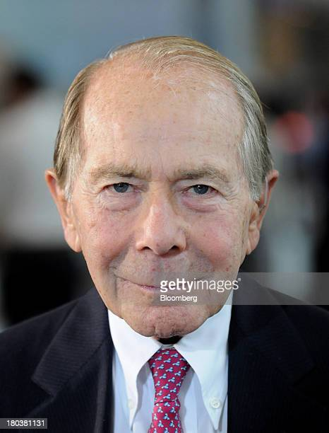 Maurice 'Hank' Greenberg former chairman and chief executive officer of American International Group Inc stands for a photograph during a Bloomberg...