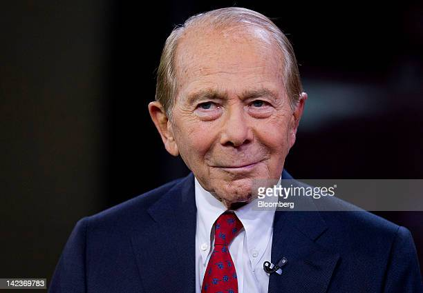 Maurice 'Hank' Greenberg the former chairman and chief executive officer of American International Group Inc listens during a television interview in...