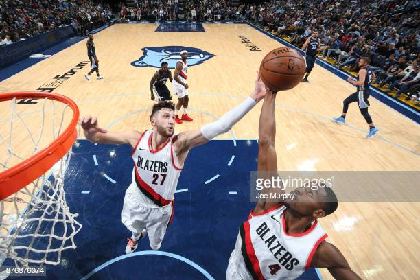 Maurice Harkless and Jusuf Nurkic of the Portland Trail Blazers goes up for a rebound against the Memphis Grizzlies on November 20 2017 at FedExForum...