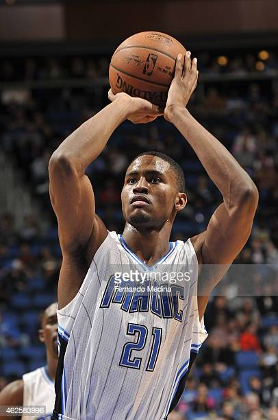 Maurice Harkless of the Orlando Magic attempts a free throw against the Dallas Mavericks on January 31 2015 at Amway Center in Orlando Florida NOTE...