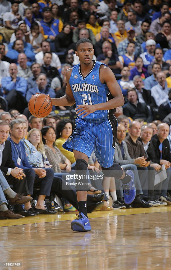 Maurice Harkless #21 of the Orlando Magic dribbles against the Golden State Warriors on March 18, 2014 at Oracle Arena in Oakland, California.