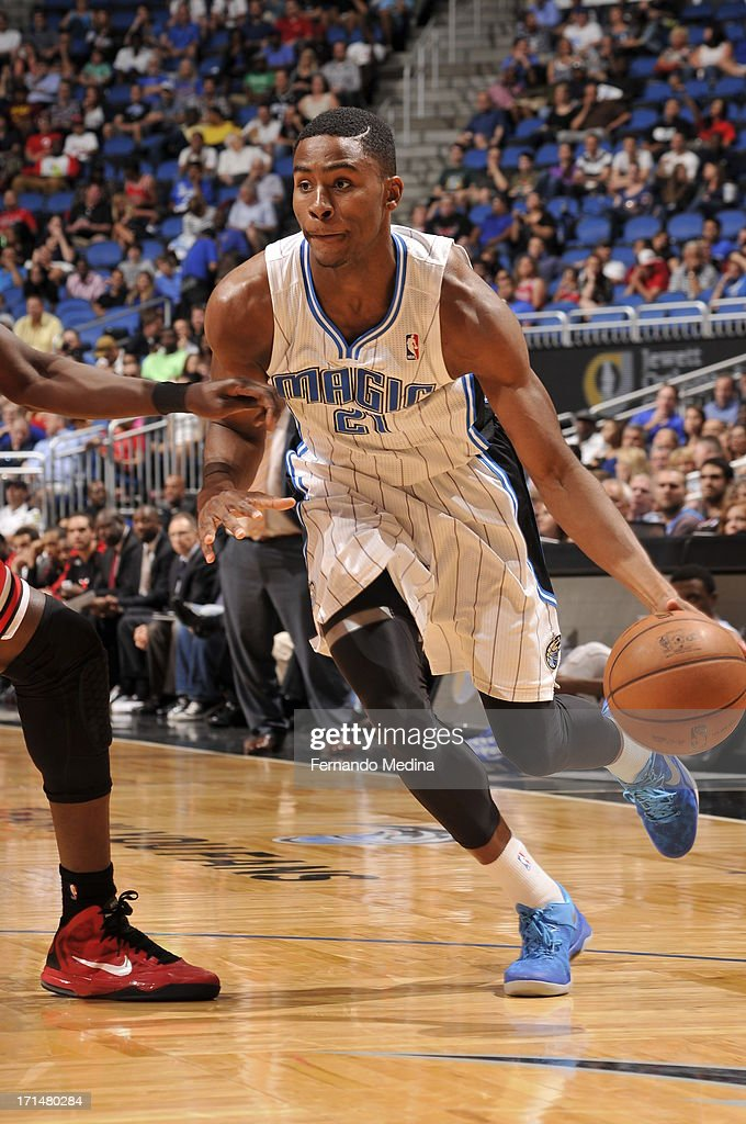 Maurice Harkless #21 of the Orlando Magic dribbles the ball against the Chicago Bulls during a game on April 15, 2013 at Amway Center in Orlando, Florida.
