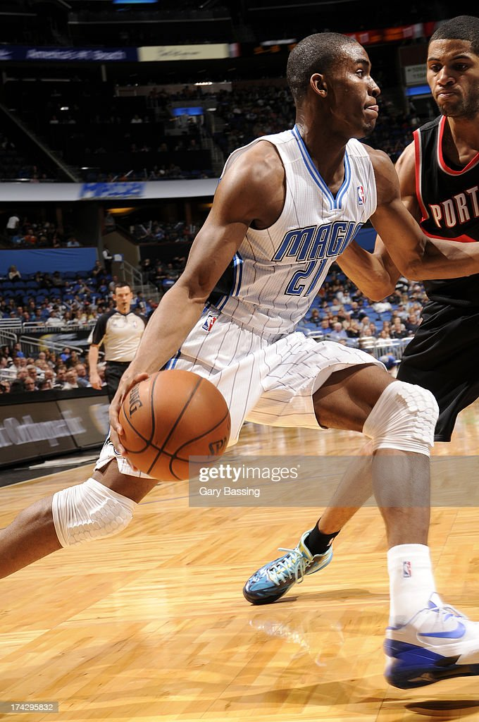 Maurice Harkless #21 of the Orlando Magic drives against the Portland Trail Blazers during the game on February 10, 2013 at Amway Center in Orlando, Florida.