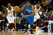 Maurice Harkless of the Orlando Magic drives down the court during the first half against the Cleveland Cavaliers at Quicken Loans Arena on November...