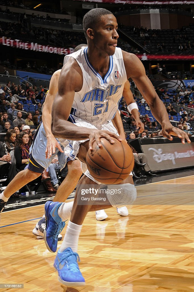 Maurice Harkless #21 of the Orlando Magic drives during the game between the Memphis Grizzlies and the Orlando Magic on March 3, 2013 at Amway Center in Orlando, Florida.