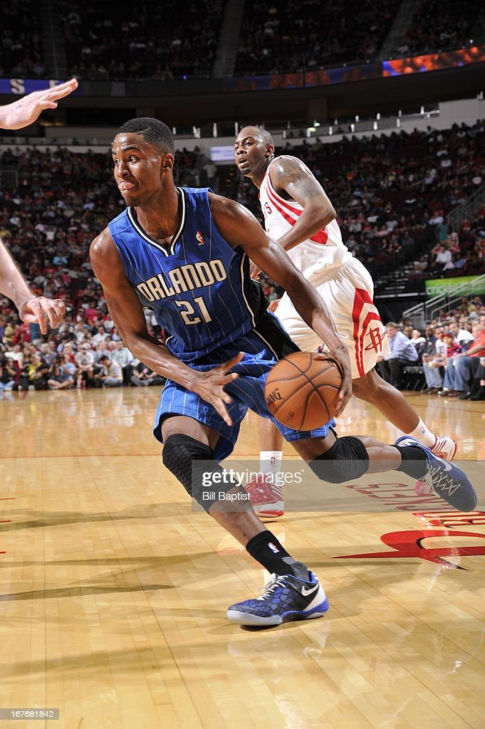 Maurice Harkless #21 of the Orlando Magic drives to the basket against the Houston Rockets on April 1, 2013 at the Toyota Center in Houston, Texas.