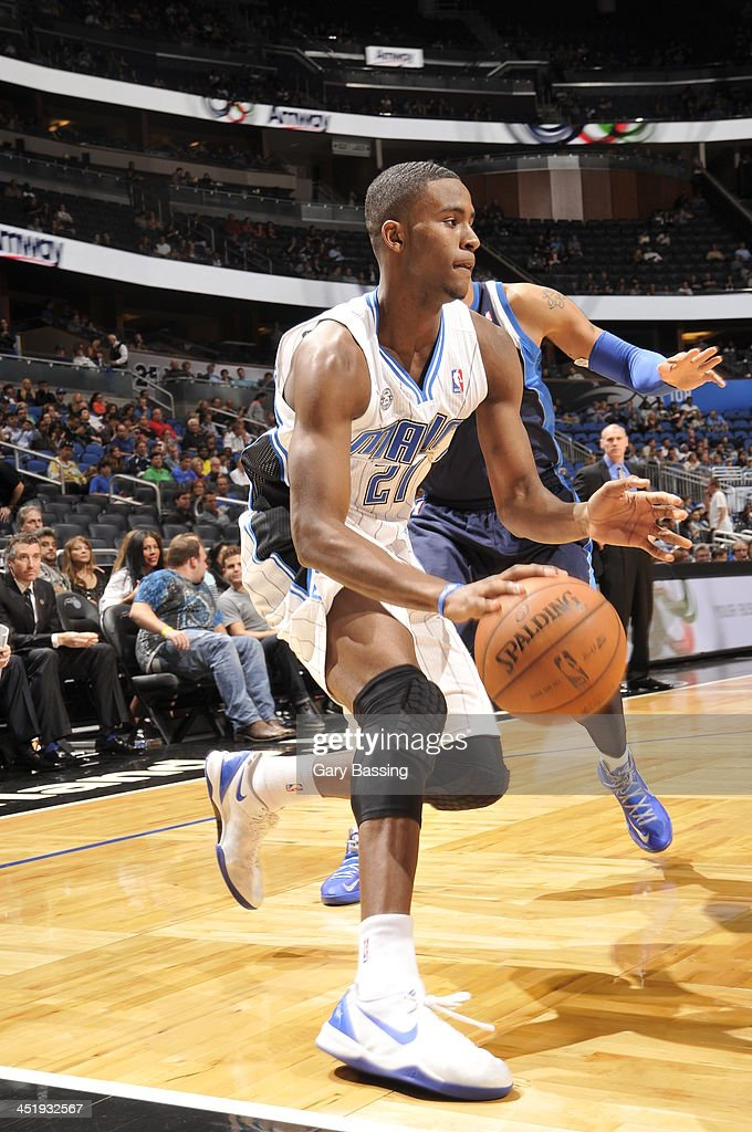 Maurice Harkless #21 of the Orlando Magic drives to the basket against the Dallas Mavericks on November 16, 2013 at Amway Center in Orlando, Florida.