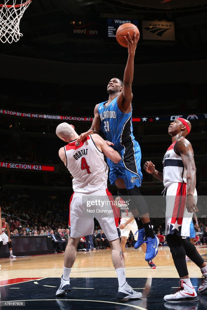 Maurice Harkless #21 of the Orlando Magic drives to the basket against the Washington Wizards during the game at the Verizon Center on February 25, 2014 in Washington, DC.