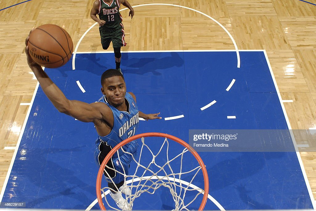 Maurice Harkless #21 of the Orlando Magic dunking during a game against the Milwaukee Bucks on January 31, 2014 at Amway Center in Orlando, Florida.