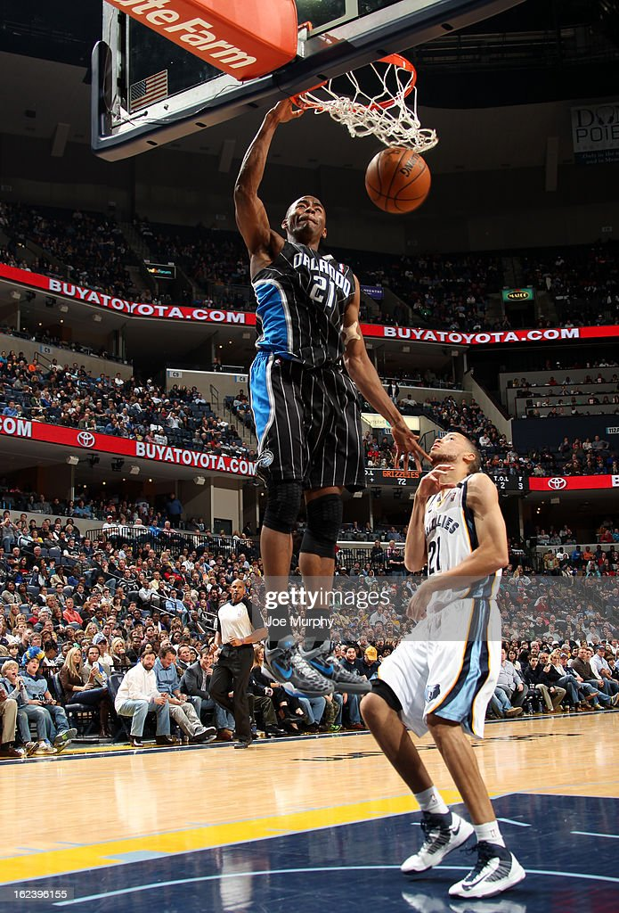 Maurice Harkless #21 of the Orlando Magic dunks against <a gi-track='captionPersonalityLinkClicked' href=/galleries/search?phrase=Tayshaun+Prince&family=editorial&specificpeople=201553 ng-click='$event.stopPropagation()'>Tayshaun Prince</a> #21 of the Memphis Grizzlies on February 22, 2013 at FedExForum in Memphis, Tennessee.
