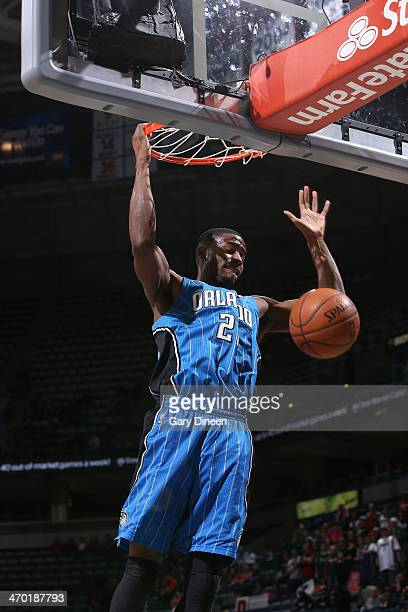 Maurice Harkless of the Orlando Magic dunks against the Milwaukee Bucks on February 18 2014 at the BMO Harris Bradley Center in Milwaukee Wisconsin...
