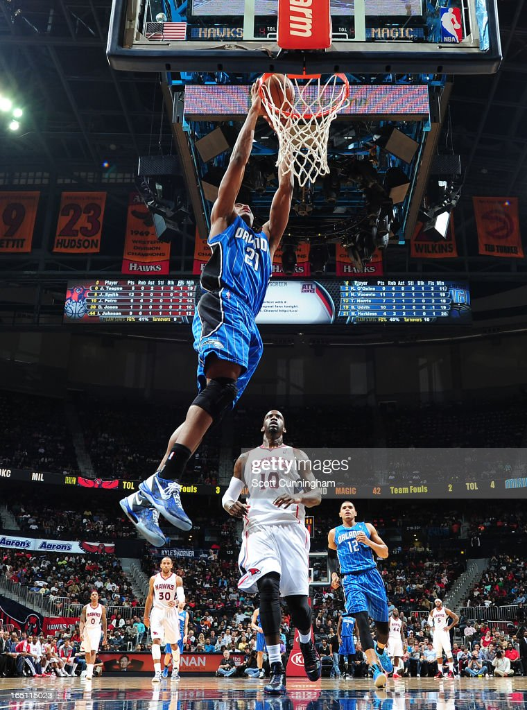 Maurice Harkless #21 of the Orlando Magic dunks the ball against the Atlanta Hawks on March 30, 2013 at Philips Arena in Atlanta, Georgia.