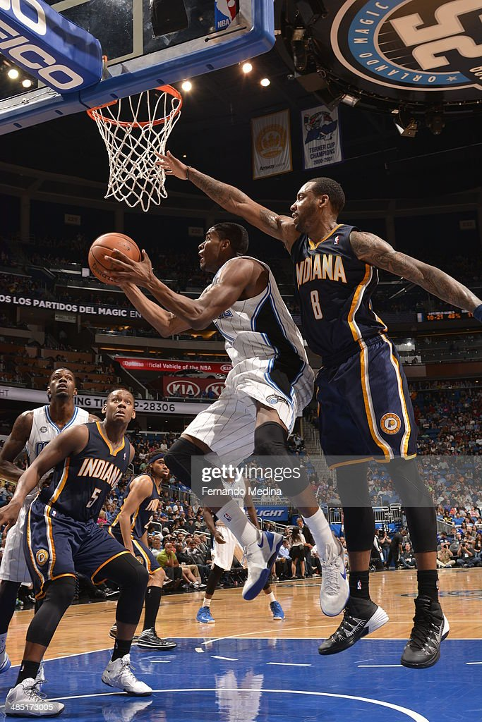 Maurice Harkless #21 of the Orlando Magic goes to the basket against the Indiana Pacers on April 16, 2014 at Amway Center in Orlando, Florida.