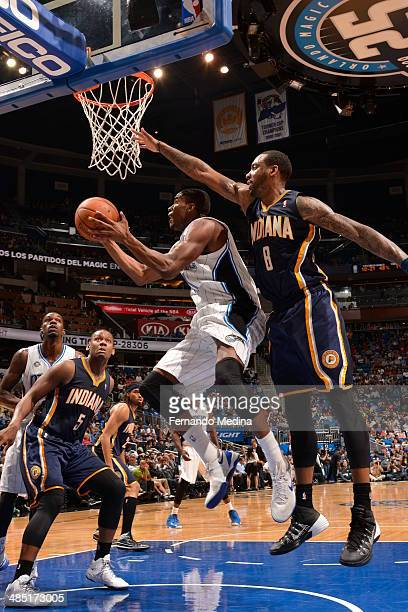 Maurice Harkless of the Orlando Magic goes to the basket against the Indiana Pacers on April 16 2014 at Amway Center in Orlando Florida NOTE TO USER...