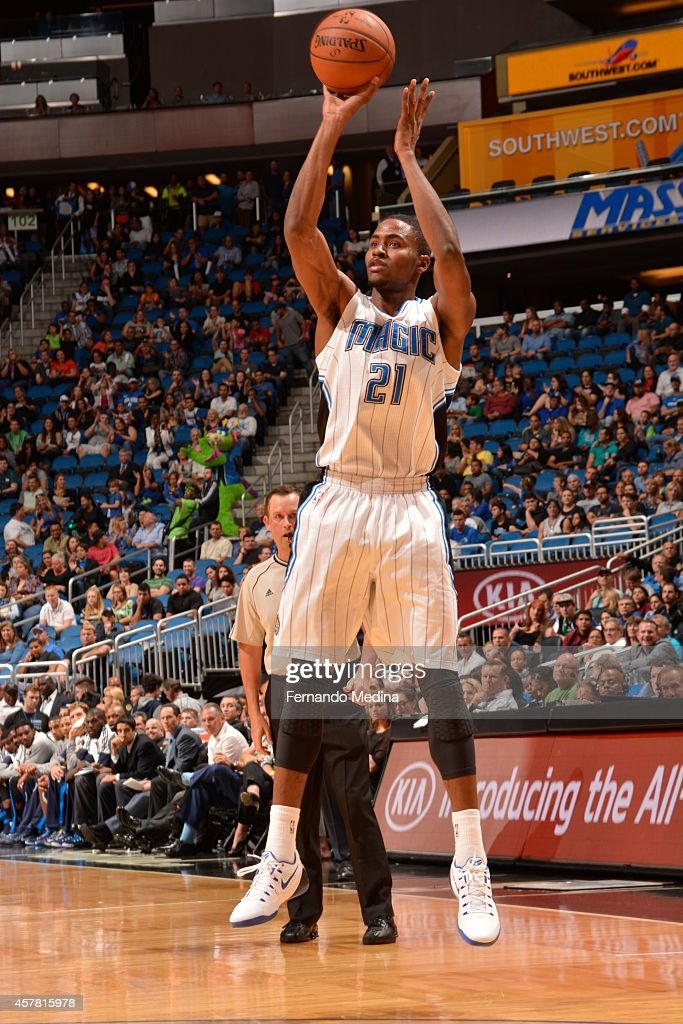 Maurice Harkless #21 of the Orlando Magic goes up for a shot against the Dallas Mavericks on October 24, 2014 at Amway Center in Orlando, Florida.