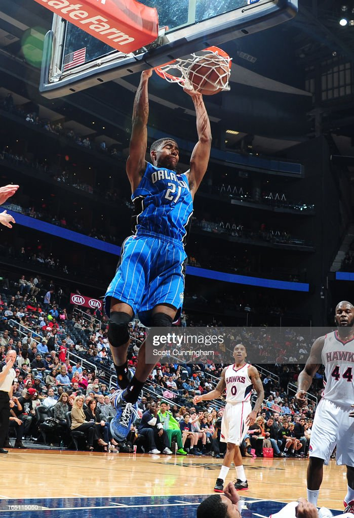 Maurice Harkless #21 of the Orlando Magic goes up for the dunk against the Atlanta Hawks on March 30, 2013 at Philips Arena in Atlanta, Georgia.