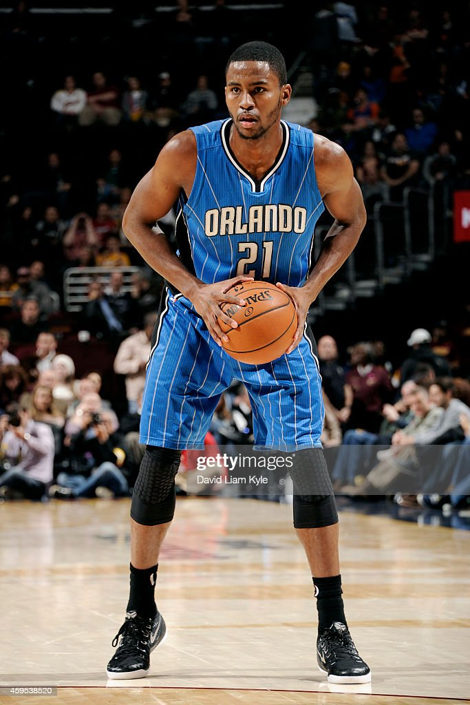 Maurice Harkless #21 of the Orlando Magic handles the ball against the Cleveland Cavaliers at The Quicken Loans Arena on November 24, 2014 in Cleveland, Ohio.