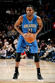 Maurice Harkless of the Orlando Magic handles the ball against the Cleveland Cavaliers at The Quicken Loans Arena on November 24 2014 in Cleveland...
