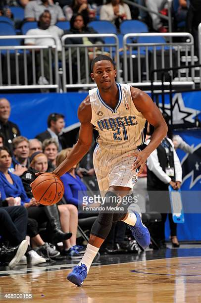 Maurice Harkless of the Orlando Magic handling the ball during a game against the Indiana Pacers on February 9 2014 at Amway Center in Orlando...