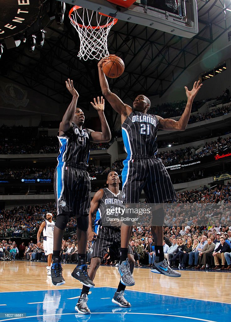 Maurice Harkless #21 of the Orlando Magic rebounds against the Dallas Mavericks on February 20, 2013 at the American Airlines Center in Dallas, Texas.