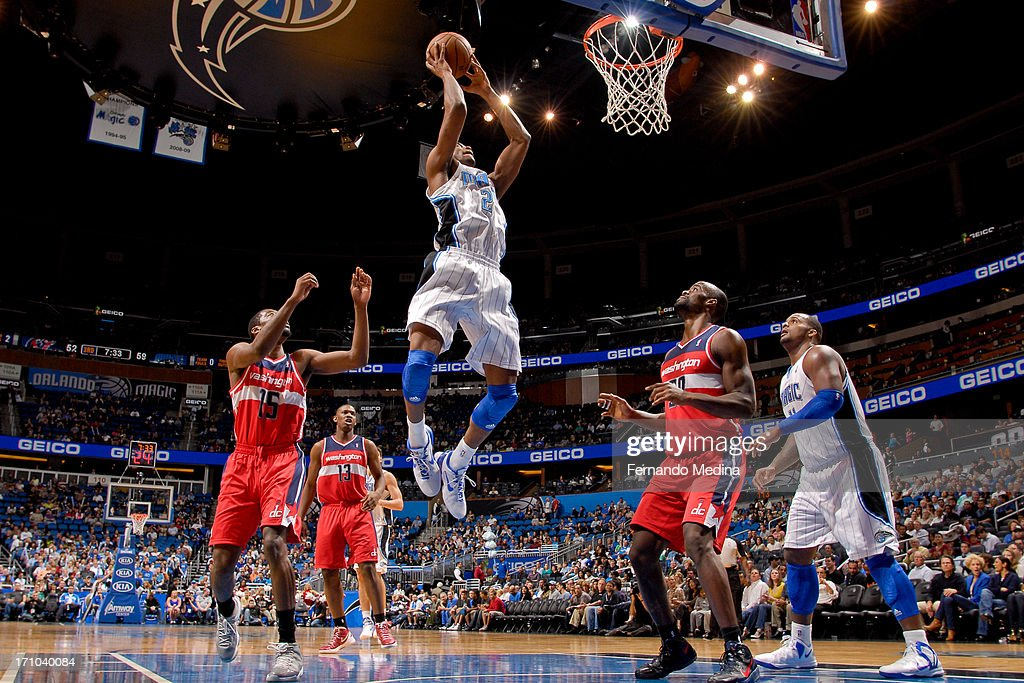 Maurice Harkless #21 of the Orlando Magic rises for a dunk against the Washington Wizards on December 19, 2012 at Amway Center in Orlando, Florida.