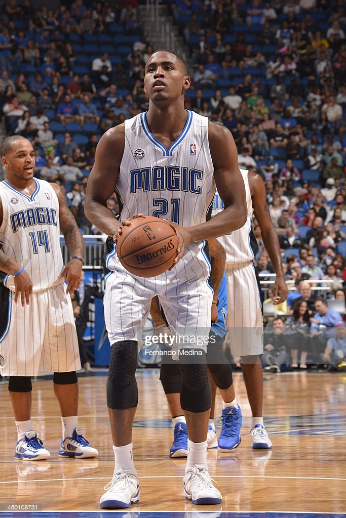 Maurice Harkless #21 of the Orlando Magic shoots a foul shot against the Dallas Mavericks during the game on November 16, 2013 at Amway Center in Orlando, Florida.