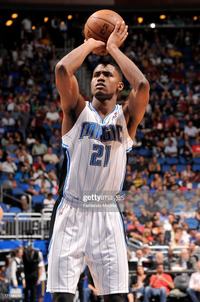 Maurice Harkless #21 of the Orlando Magic shoots a free throw against the Chicago Bulls during a game on April 15, 2013 at Amway Center in Orlando, Florida.