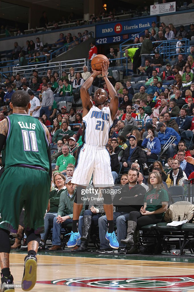 Maurice Harkless #21 of the Orlando Magic shoots a three-pointer against the Milwaukee Bucks on March 17, 2013 at the BMO Harris Bradley Center in Milwaukee, Wisconsin.