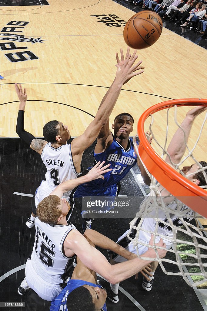 Maurice Harkless #21 of the Orlando Magic shoots against Danny Green #4 of the San Antonio Spurs on April 3, 2013 at the AT&T Center in San Antonio, Texas.