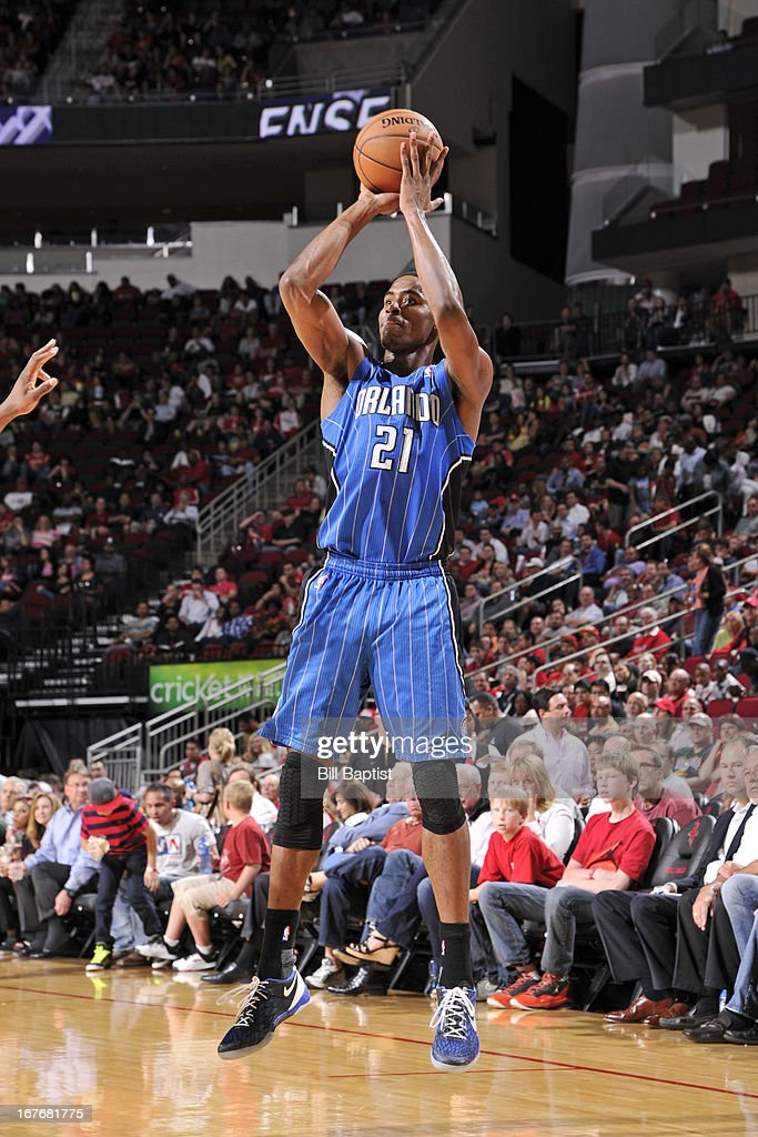 Maurice Harkless #21 of the Orlando Magic shoots against the Houston Rockets on April 1, 2013 at the Toyota Center in Houston, Texas.