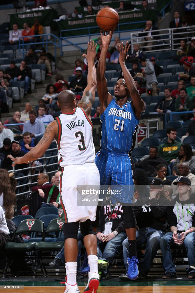 Maurice Harkless #21 of the Orlando Magic shoots against the Milwaukee Bucks on February 18, 2014 at the BMO Harris Bradley Center in Milwaukee, Wisconsin.