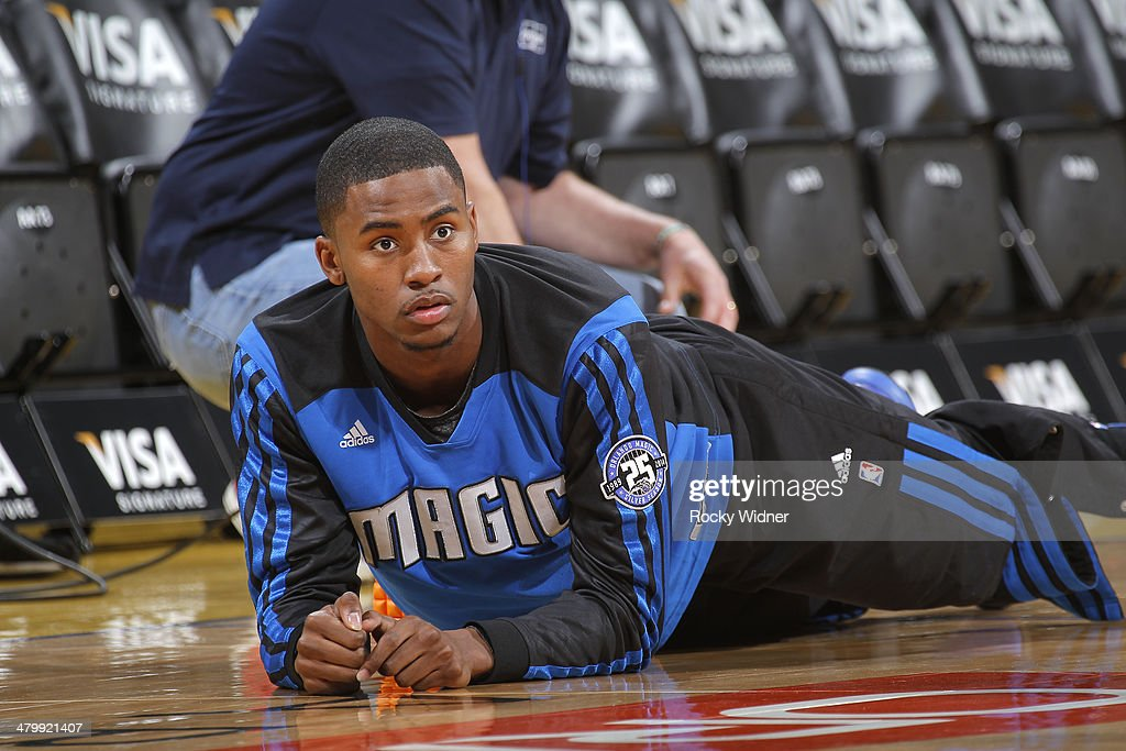 Maurice Harkless #21 of the Orlando Magic stretches before facing the Golden State Warriors on March 18, 2014 at Oracle Arena in Oakland, California.