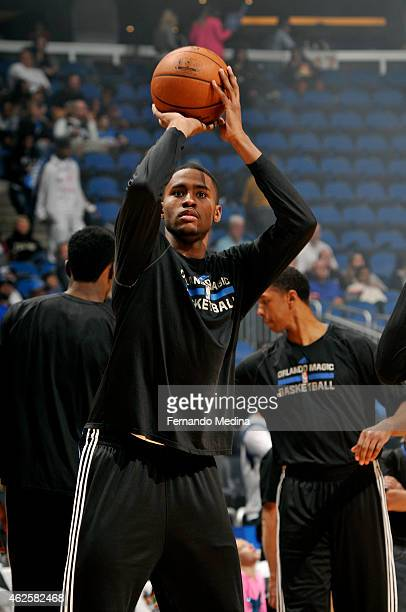 Maurice Harkless of the Orlando Magic warms up before a game against the Dallas Mavericks on January 31 2015 at Amway Center in Orlando Florida NOTE...